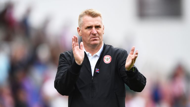 Dean Smith applauds the fans after the Sky Bet Championship between Stoke City and Brentford at Bet365 Stadium on August 11, 2018
