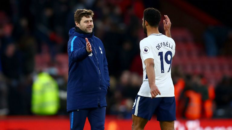 Mauricio Pochettino, Manager of Tottenham Hotspur and Fernando Llorente of Tottenham Hotspur embrace after the Premier League match between AFC Bournemouth and Tottenham Hotspur at Vitality Stadium on March 11, 2018 in Bournemouth, England.