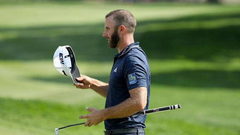 Dustin Johnson raced into contention with seven birdies in 10 holes