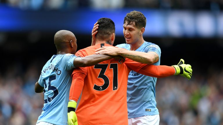 Manchester City goalkeeper Ederson is congratulated on his assist on Sunday