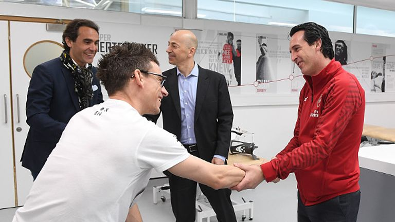 Emery says Laurent Koscielny is making progress in his recovery from an Achilles injury