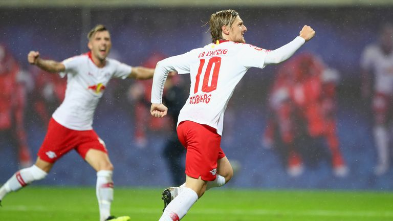 Emil Forsberg celebrates scoring late on for RB Leipzig