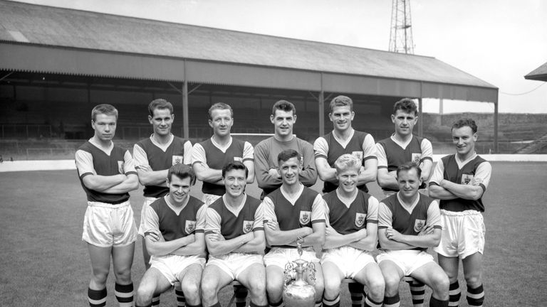 The Burnley Championship-winning team of 1960. McIlroy is second from left in the front row