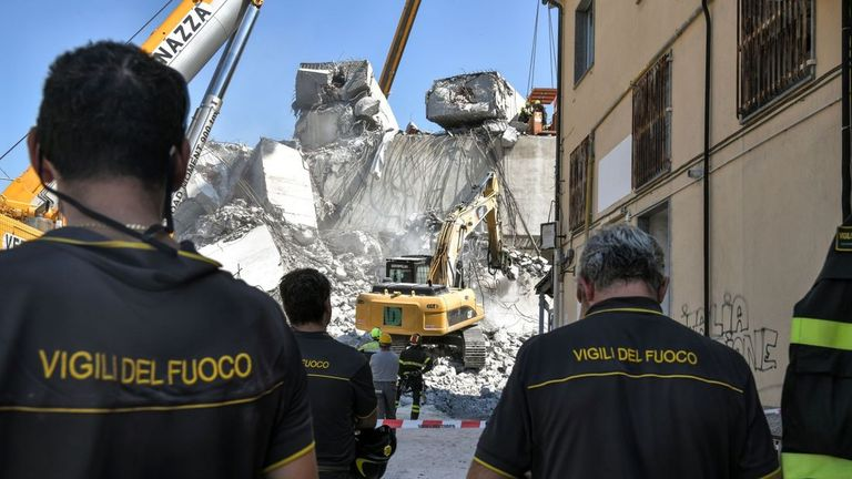 At least 39 people have died following the collapse of the Morandi bridge in Genoa