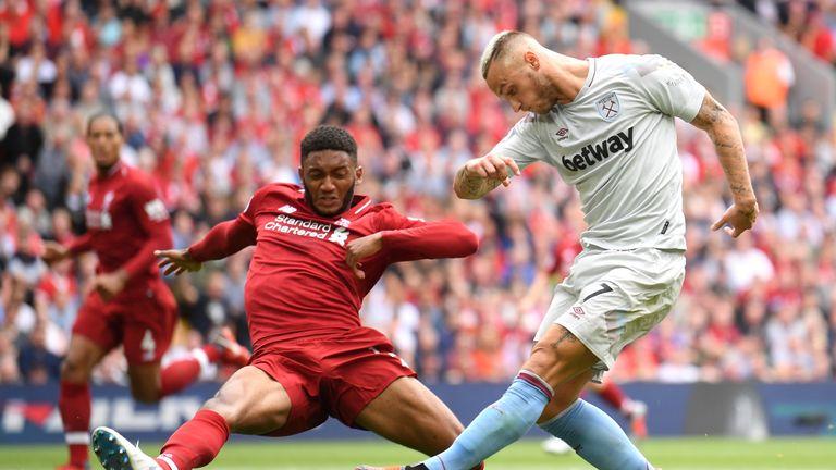 Joe Gomez in action in Liverpool's 4-0 win over West Ham