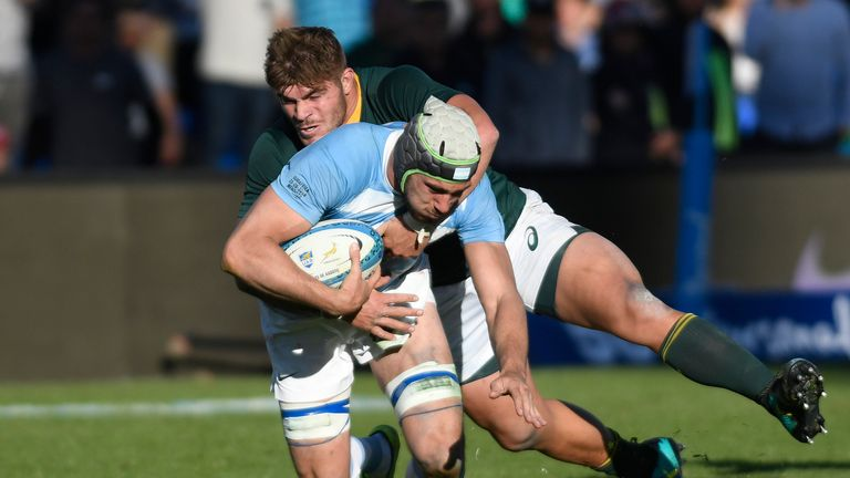 Guido Petti is tackled by South Africa's Malcolm Marx