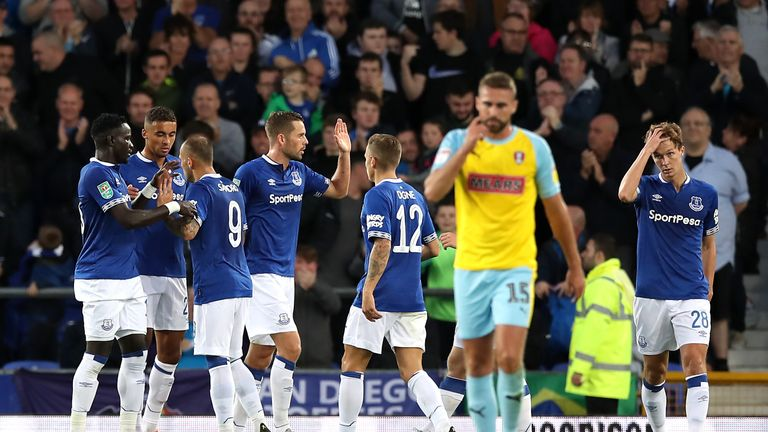Everton players celebrate Gylfi Sigurdsson's (centre) opener