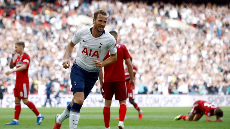 Harry Kane scored in the 77th minute against Fulham  at Wembley