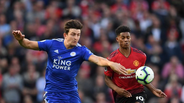 Harry Maguire and Marcus Rashford in action at Old Trafford