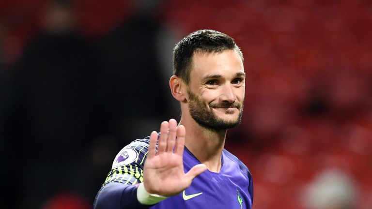 Hugo Lloris during the Premier League match between Manchester United and Tottenham Hotspur at Old Trafford