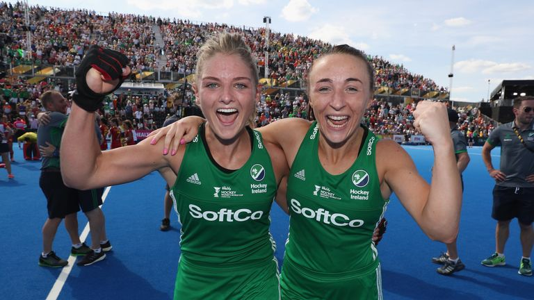 Ireland duo Chloe Watkins and Yvonne O'Byrne celebrate the semi-final win