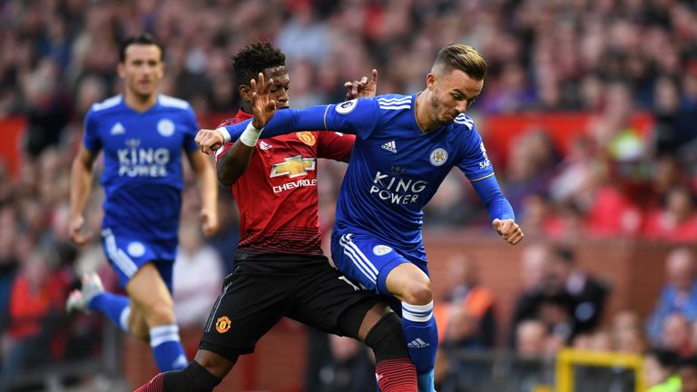 James Maddison and Fred in action at Old Trafford