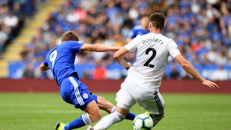 Leicester's Jamie Vardy was sent off after a strong tackle on Matt Doherty