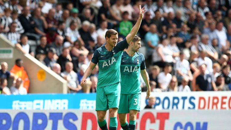 Jan Vertonghen celebrates after putting Tottenham ahead