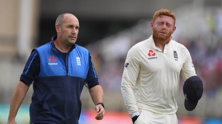 Jonny Bairstow suffered a fractured finger on day three in Nottingham