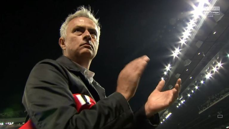 Mourinho stood to applaud the home fans for over a minute after the game, picking up a scarf thrown onto the pitch
