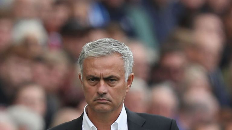 Jose Mourinho during the Premier League match between Brighton & Hove Albion and Manchester United at American Express Community Stadium on August 19, 2018 in Brighton, United Kingdom.