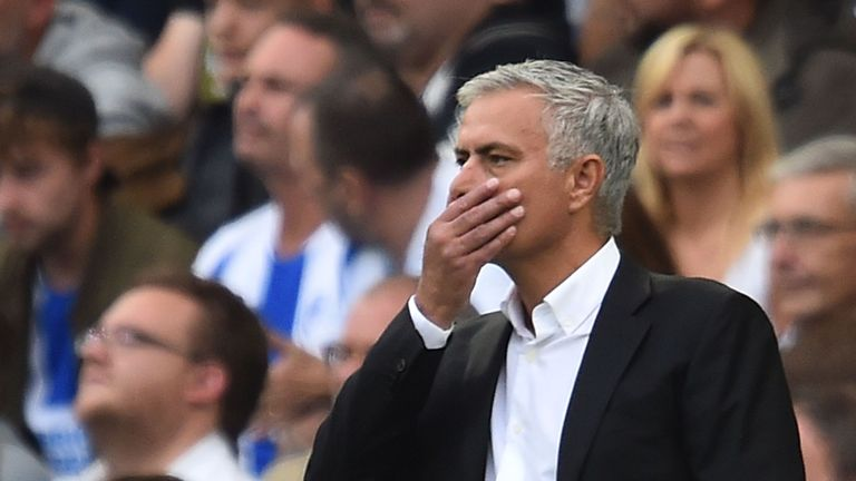 Jose Mourinho on the sidelines during Manchester United's defeat to Brighton.