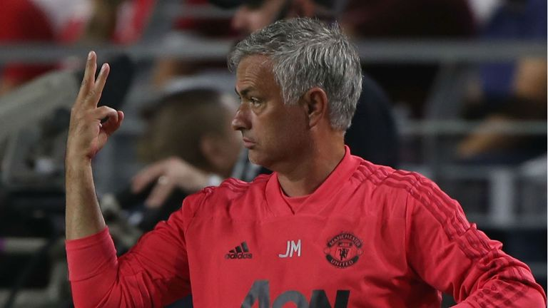 Manager Jose Mourinho of Manchester United watches from the touchline during the pre-season friendly match between Manchester United and Club America at University of Phoenix Stadium on July 19, 2018 in Glendale, Arizona