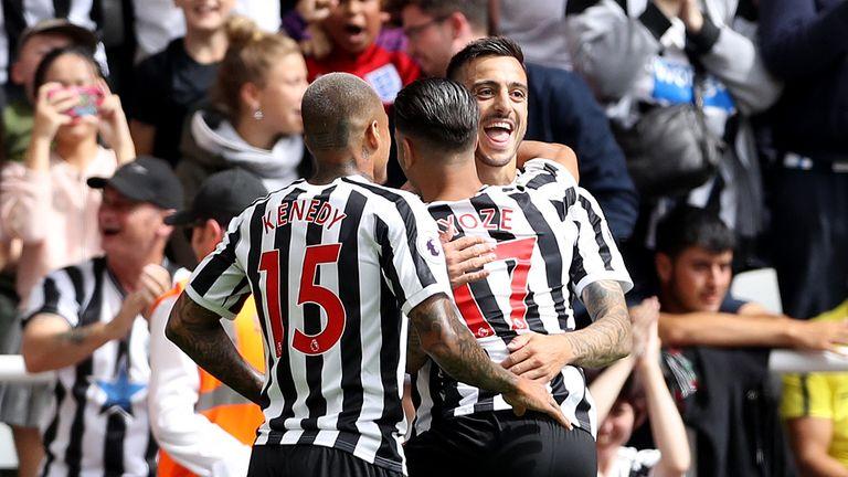 Newcastle United's Joselu celebrates his equailser