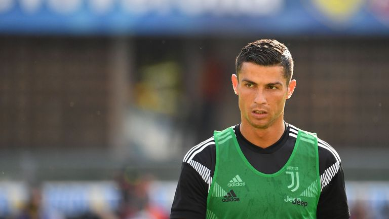 Juventus' Cristiano Ronaldo looks on as he warms up prior to the Italian Serie A football match AC Chievo vs Juventus at the Marcantonio-Bentegodi stadium in Verona