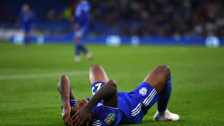 Kadeem Harris reacts during Cardiff's defeat to Norwich