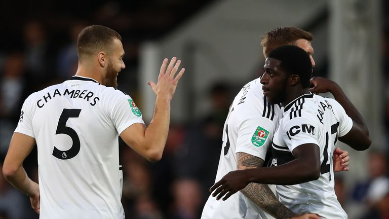Aboubakar Kamara (right) celebrates his second goal of the night