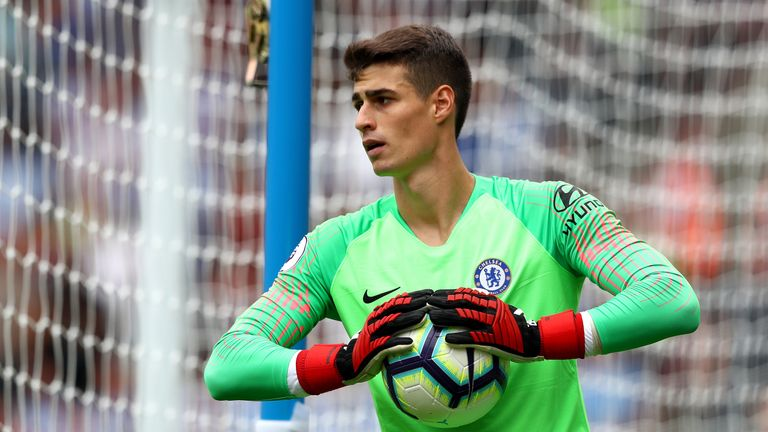 New Chelsea signing Kepa Arrizabalaga gathers the ball during the Premier League match against Huddersfield Town