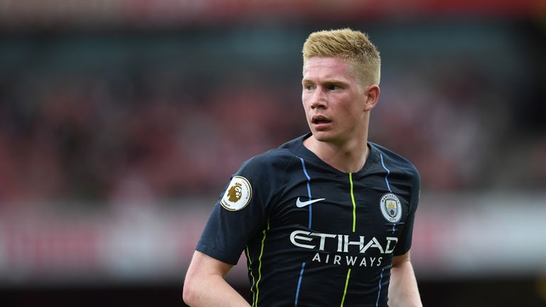 Kevin De Bruyne during the Premier League match between Arsenal FC and Manchester City at Emirates Stadium on August 12, 2018 in London, United Kingdom.