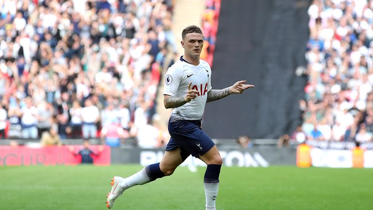 Tottenham Hotspur's Kieran Trippier celebrates scoring his side's second goal of the game v Fulham during the Premier League match at Wembley Stadium, London