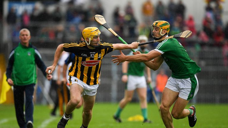Richie Leahy of Kilkenny in action against Dan Morrissey of Limerick