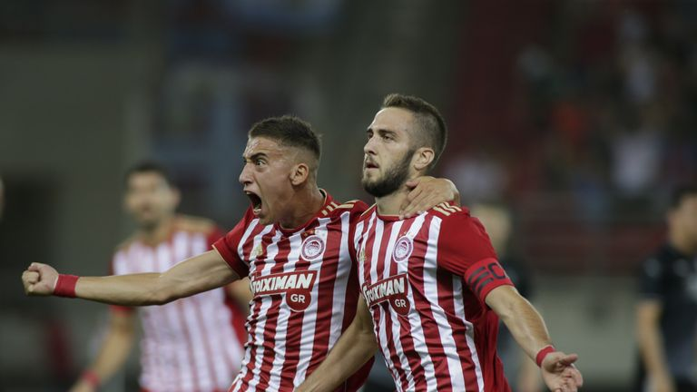 Olympiakos put one foot in the group stage with a 3-1 win over Burnley in Athens in the first leg of their Europa League play-off tie
