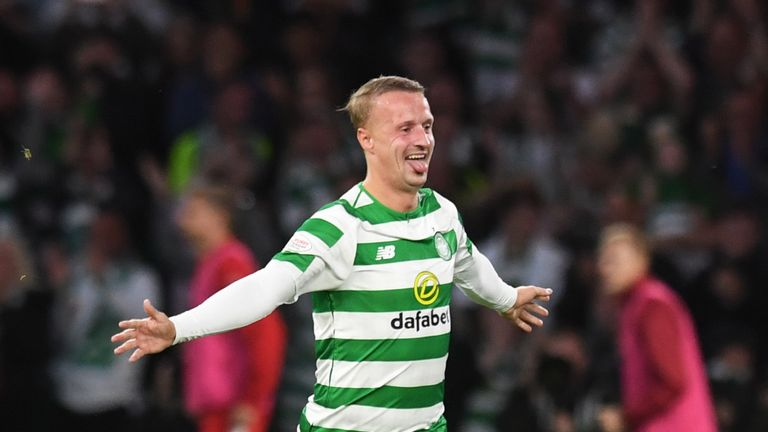 Celtic's Leigh Griffiths celebrates his goal to make it 1-0.