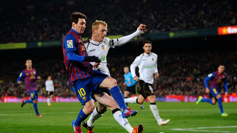 at Nou Camp on February 8, 2012 in Barcelona, Spain.