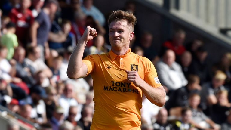 Livingston's Alan Lithgow celebrates scoring against St Mirren earlier in the season