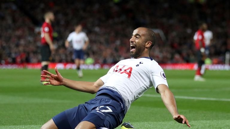Lucas Moura celebrates scoring Spurs' second against Manchester United