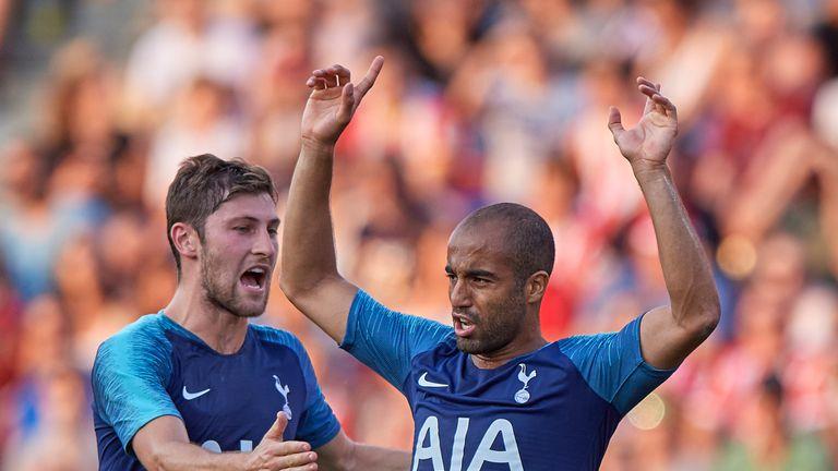 Lucas Moura celebrates his goal for Tottenham