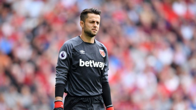 Lukasz Fabianski during the Premier League match between Liverpool FC and West Ham United at Anfield on August 12, 2018 in Liverpool, United Kingdom.