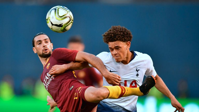 Luke Amos competes with Javier Pastore during Tottenham's 4-1 defeat of Roma in the 2018 International Champions Cup