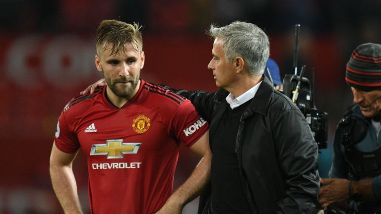 Manager Jose Mourinho consoles Luke Shaw after the loss to Tottenham at Old Trafford
