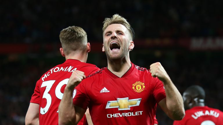 Luke Shaw celebrates after scoring against Leicester on the opening day of the season
