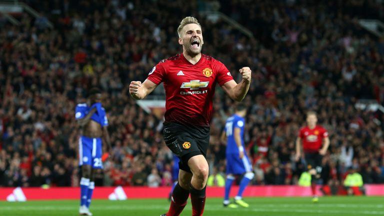 Luke Shaw celebrates doubling Manchester United's lead