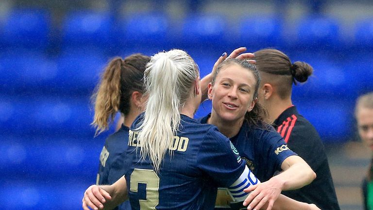 """Manchester United Women's Lizzie Arnot (Right) celebrates with her team-mates at the end of the game during the Continental Tyres Cup, Group Two North match at Prenton Park, Birkenhead. PRESS ASSOCIATION Photo. Picture date: Sunday August 19, 2018. See PA story SOCCER Liverpool Women. Photo credit should read: Clint Hughes/PA Wire. RESTRICTIONS: EDITORIAL USE ONLY No use with unauthorised audio, video, data, fixture lists, club/league logos or """"live"""" services. Online in-match use limited to 120 images, no video emulation. No use in betting, games or single club/league/player publications."""
