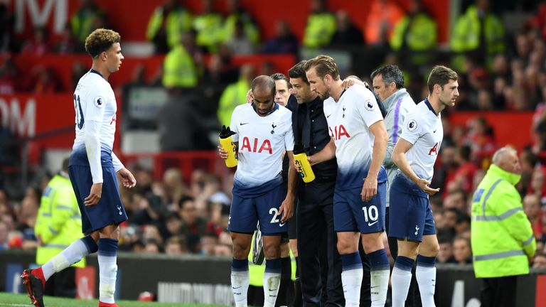 Tottenham Hotspur manager Mauricio Pochettino speaks to his forward pairing of Lucas Moura and Harry Kane
