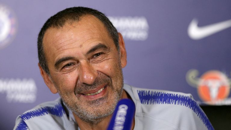 New Chelsea boss Maurizio Sarri during a press conference at Cobham Training Centre