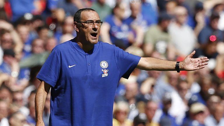 Maurizio Sarri gestures during the Community Shield