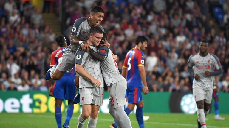 Liverpool celebrate James Milner's penalty against Crystal Palace at Selhurst Park on August 20, 2018 in London, United Kingdom