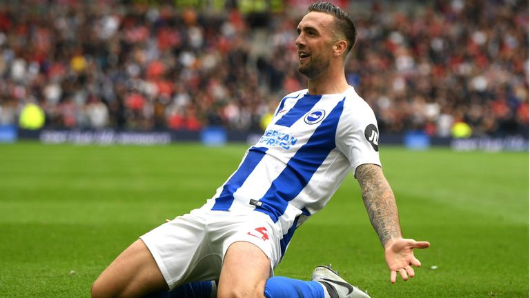 Shane Duffy of Brighton and Hove Albion celebrates after scoring his team's second goal during the Premier League match between Brighton & Hove Albion and Manchester United at American Express Community Stadium on August 19, 2018 in Brighton, United Kingdom.