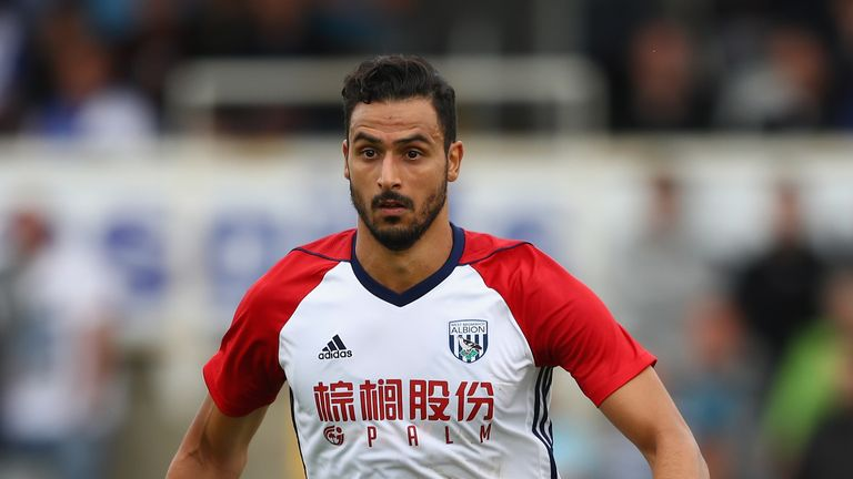Nacer Chadli in action for West Brom during the pre-season