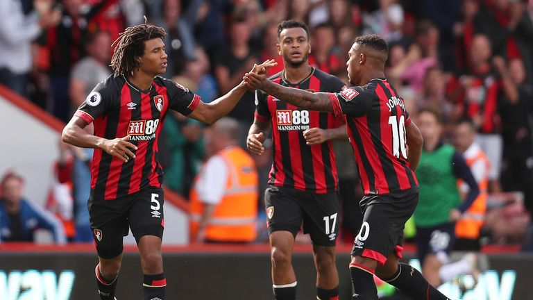 Nathan Ake celebrates his 79th minute equaliser with teammates